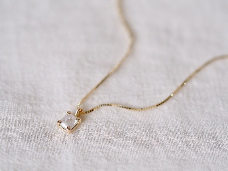 Baby Square Diamond Necklace Silk