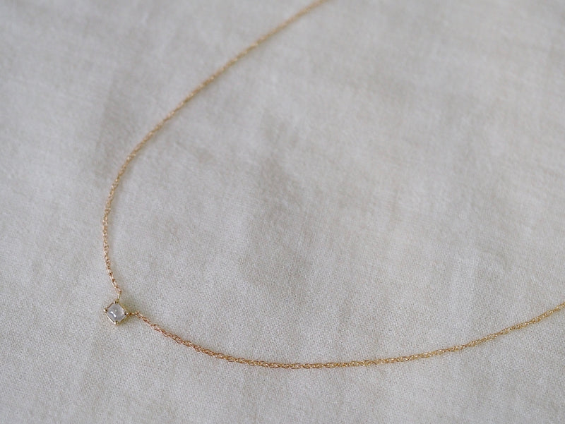 Baby Square Diamond Necklace Beige White