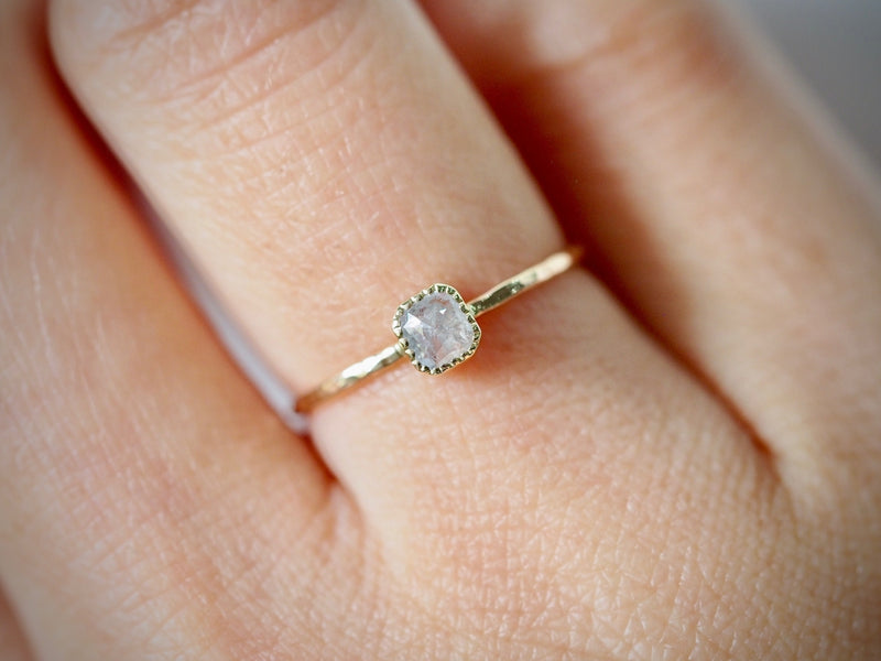 Silver Square Diamond Ring