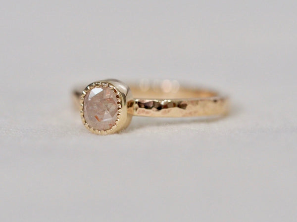 Baby pink diamond ring