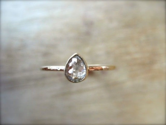 Pink Inclusion Tear Diamond Ring