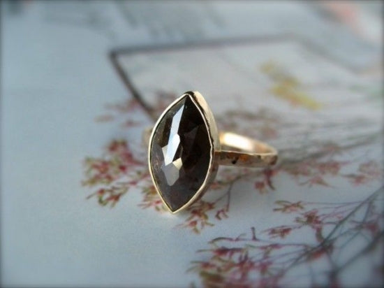 Deep Brown Marquis Diamond Ring