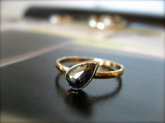 Midnight Black Tear Diamond Ring