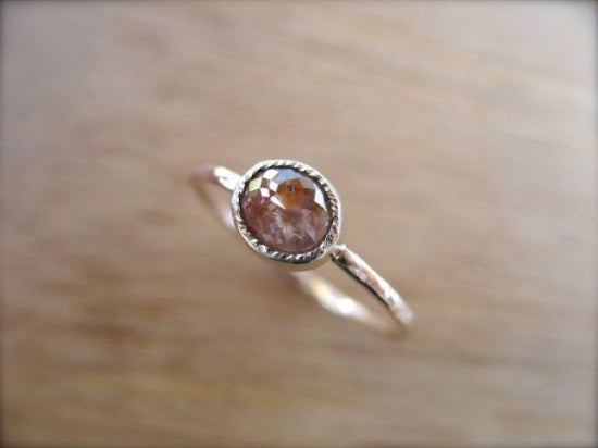 Orange Red Diamond Ring