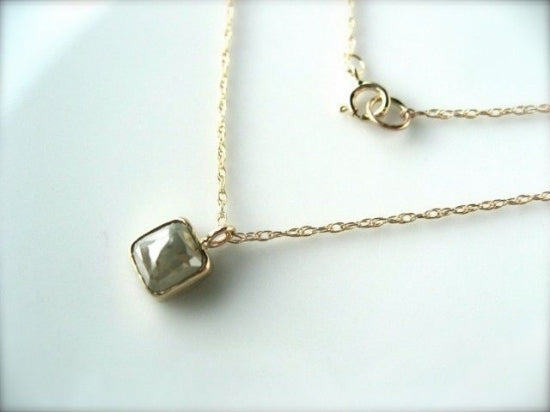 White Gray Diamond Necklace 14k