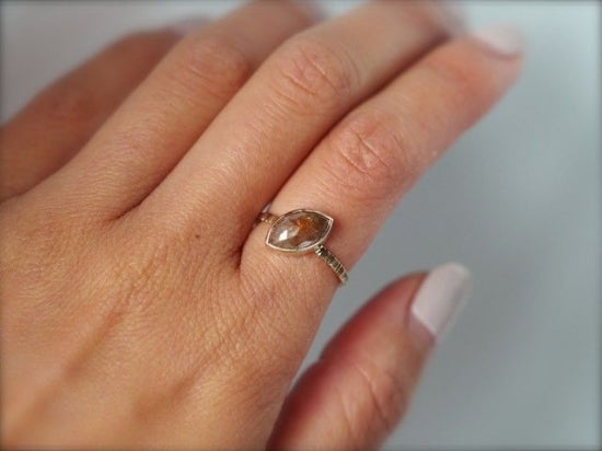 Rosy Cloud Marquis Diamond Ring