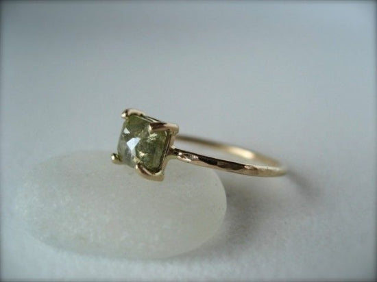 Green Diamond Prong Ring Square