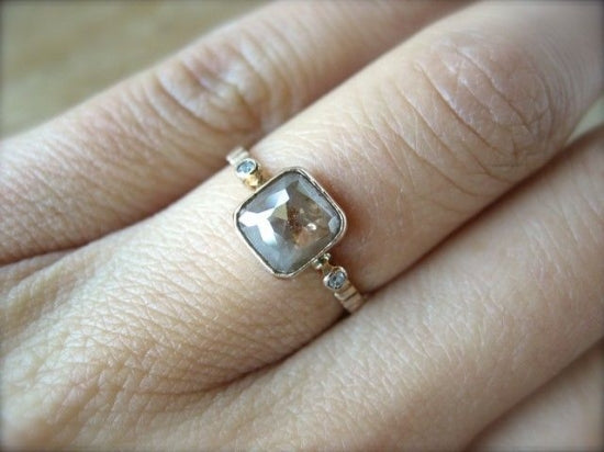 Brown Marble Diamond Ring