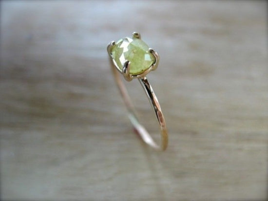 Yellow Diamond Prong Ring Oval