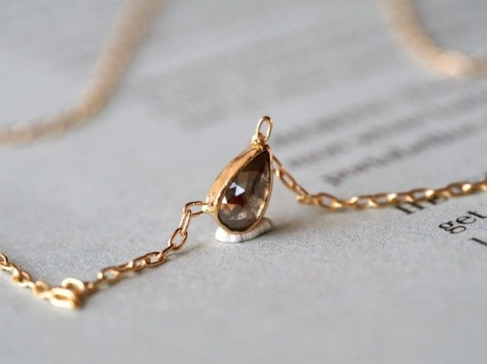 Cat's Eye...Gray Red Drop Diamond Necklace