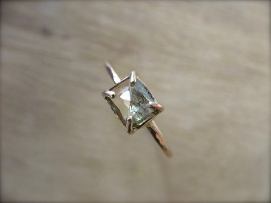 Moss Green Diamond Prong Ring