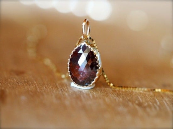 Burgundy Drop Diamond Necklace