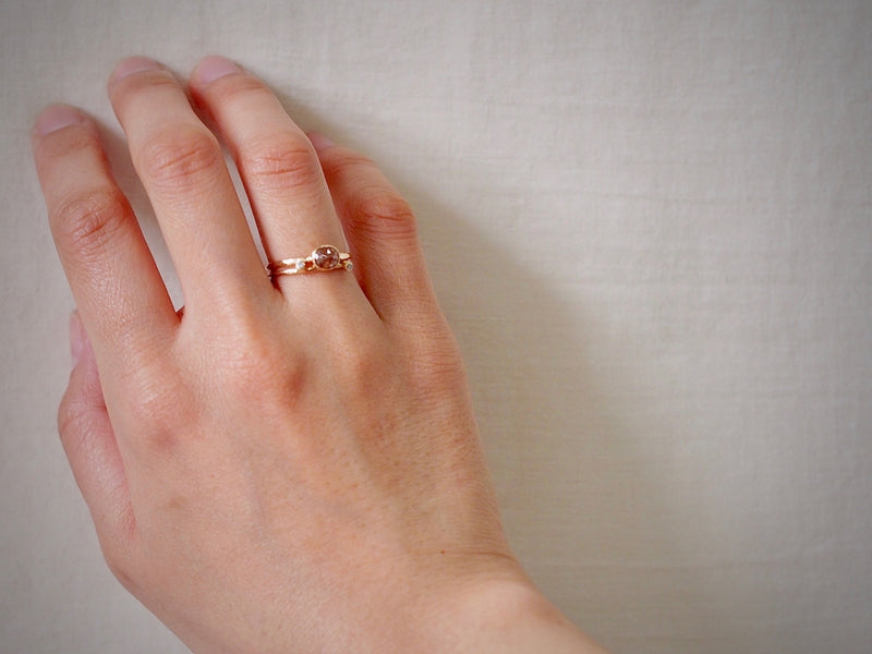 Terracotta Oval Diamond Ring