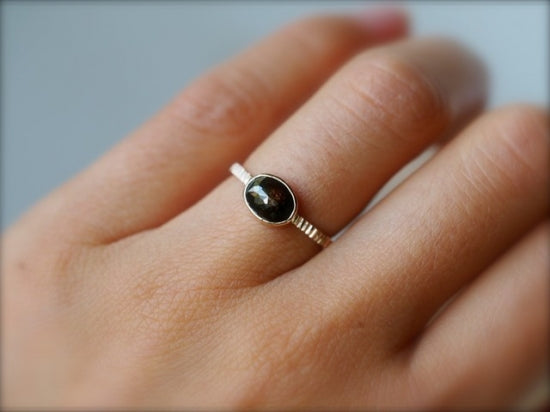 Misty Night Oval Diamond Ring
