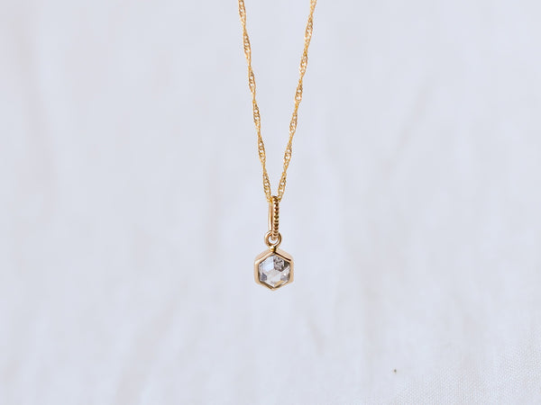 Stella Diamond Necklace Bezel Hexagon