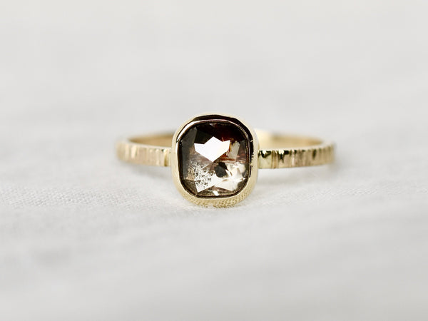 Earth brown diamond ring