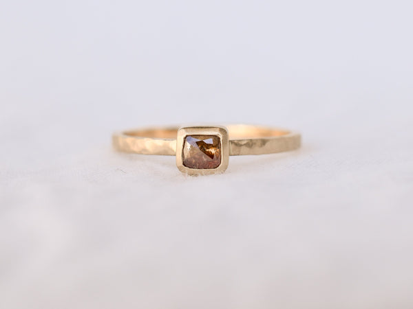 Frosted Bezel Diamond Ring Sunset Square