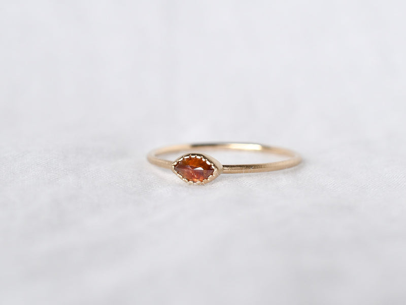 Frosted Bezel Diamond Ring Deep Red Marquee