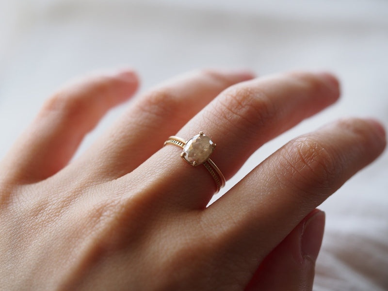 Frosted Diamond Ring Beige Oval