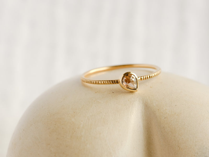 Sepia Brown Drop Diamond Ring