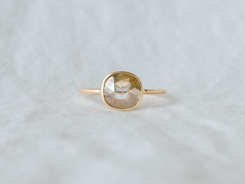 Frosted bezel diamond ring moss