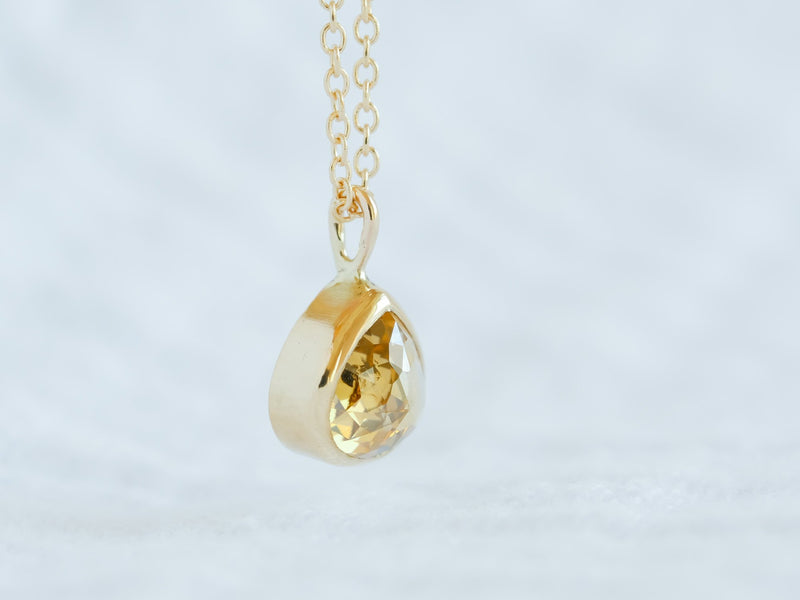 Golden Drop Diamond Necklace