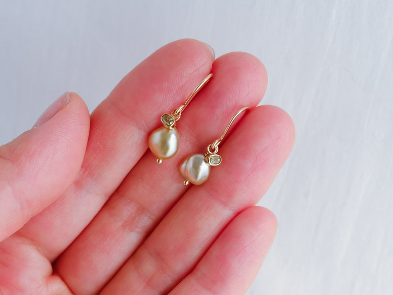 Little treasures charm earrings champagne sage oval