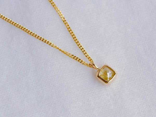 Pale Yellow Baby Diamond Necklace