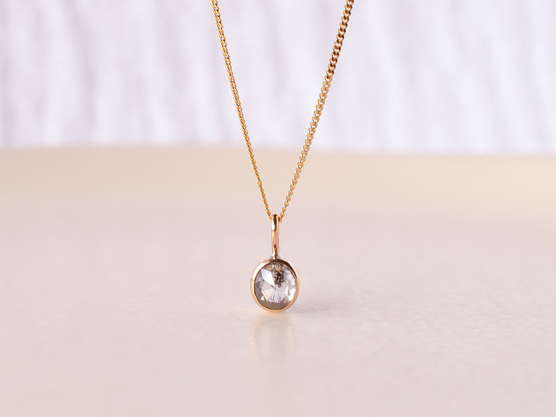 Stella Diamond Necklace Bezel Oval