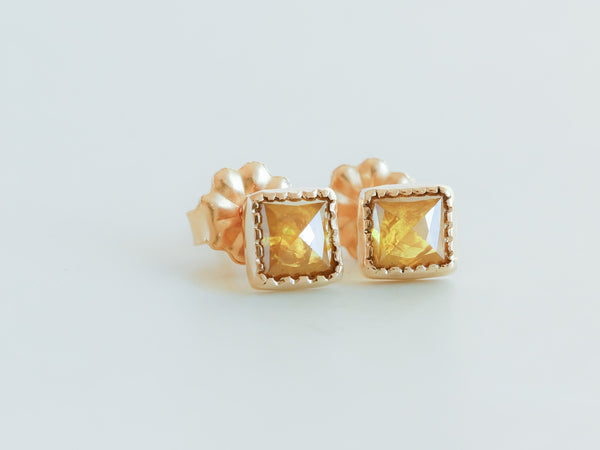 Yellow Daisy Diamond Earrings