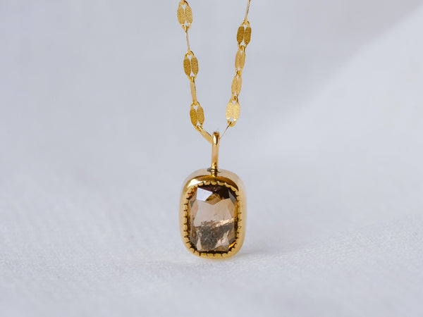 Bitter Brown Baguette diamond Necklace