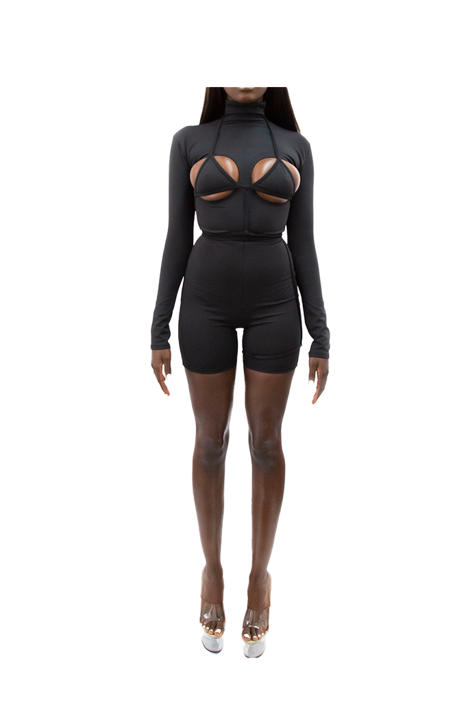Cut-Out Black BodySuit