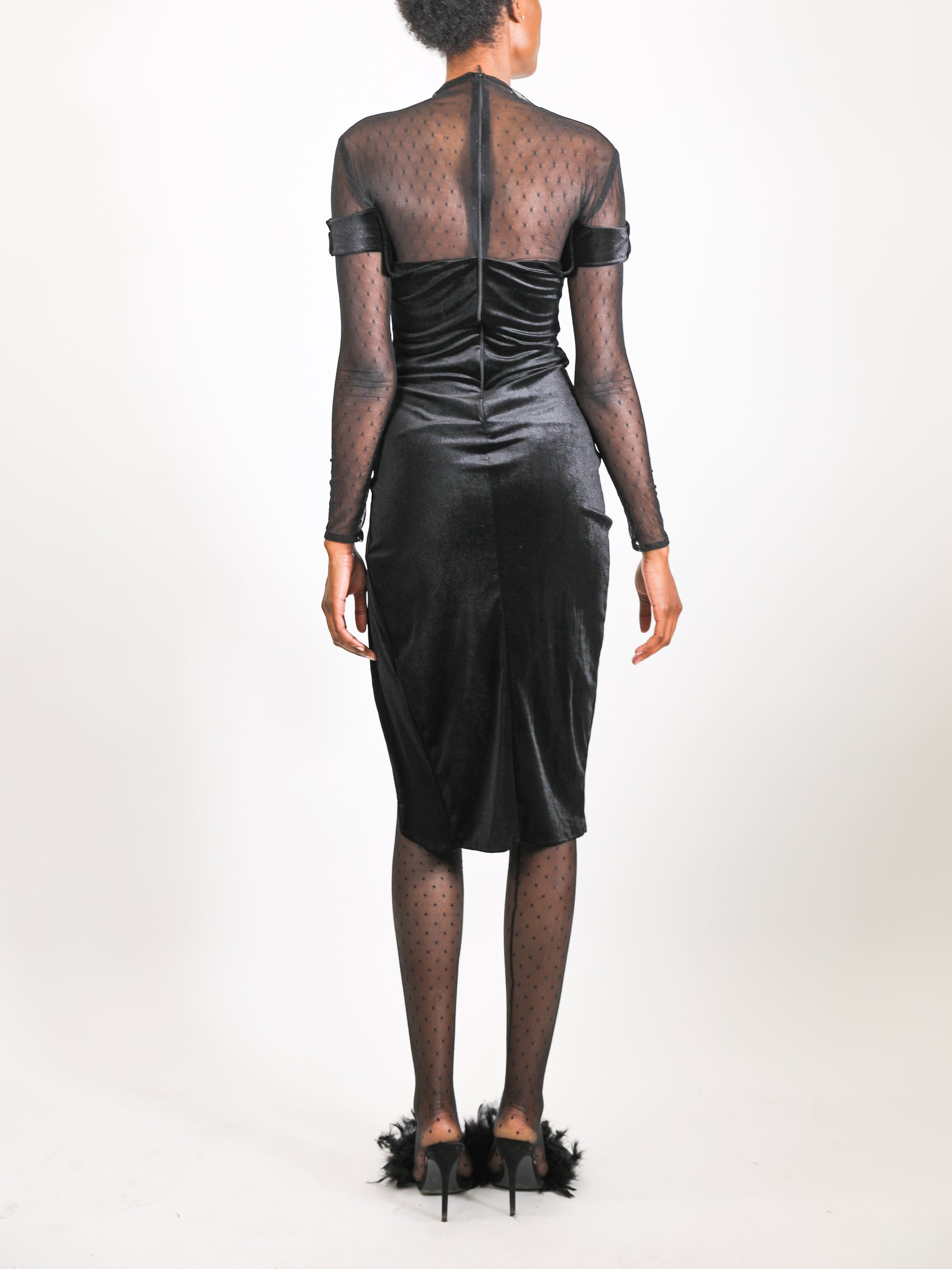 Model wears small Dot Dress by GrayScale (Back)