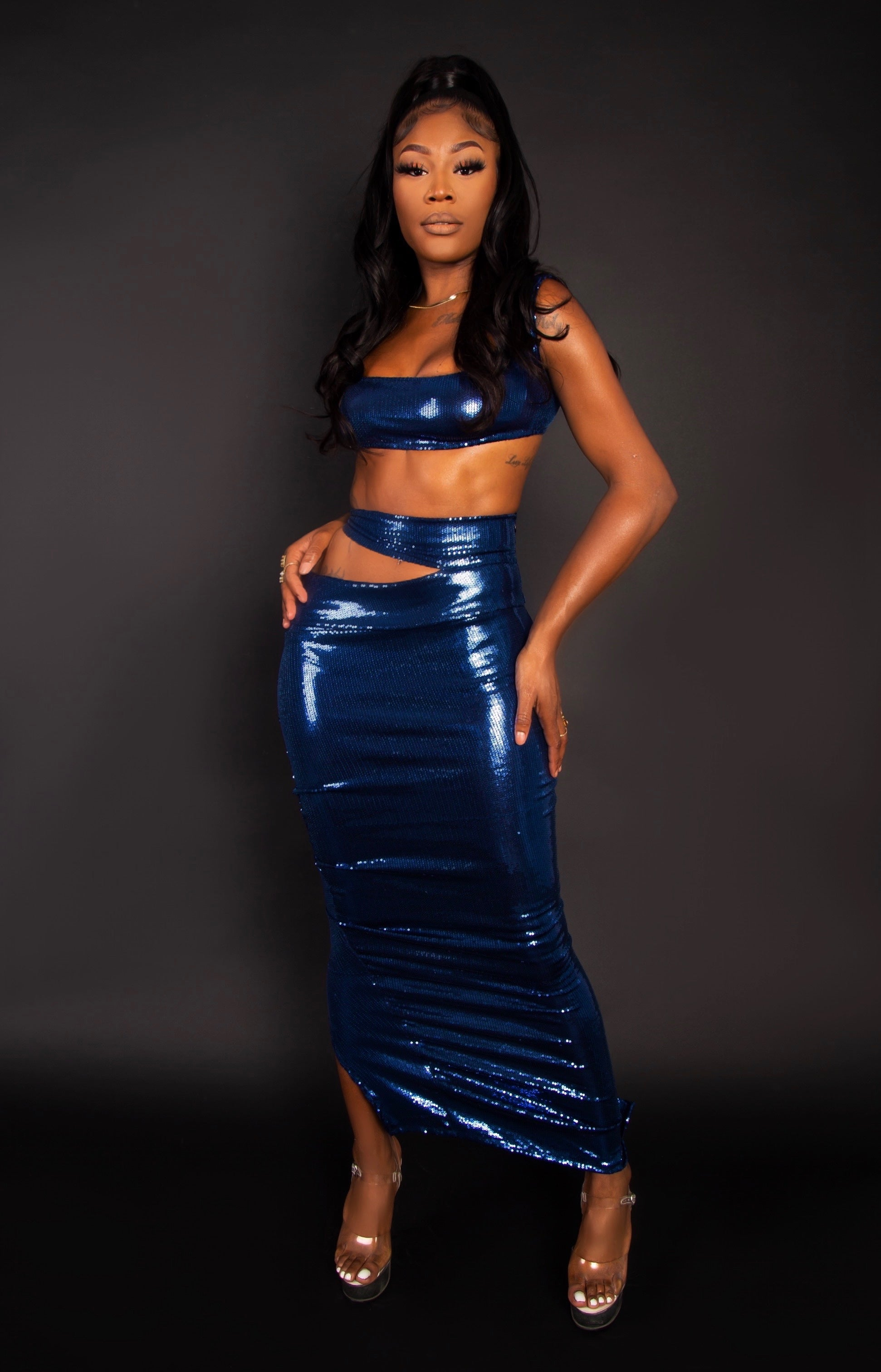 Blue Sequin Dip Skirt