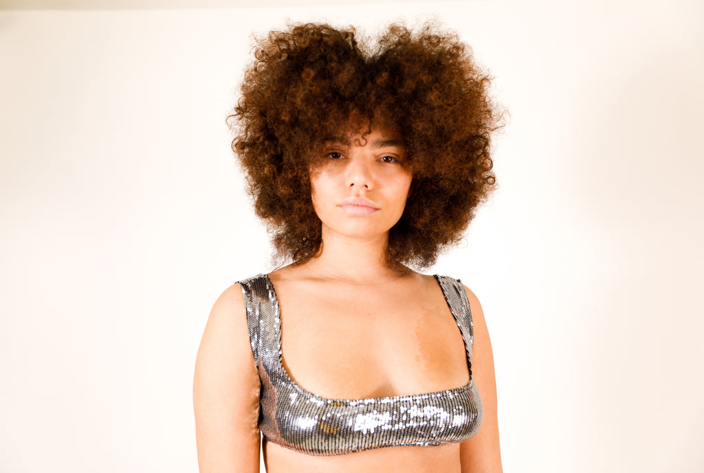 Model wears small Sequin Top by GrayScale (Close up)