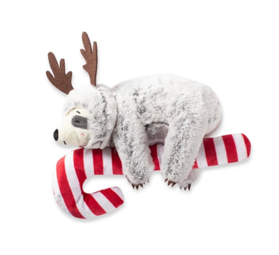 Sloth on a candy cane dog toy - Maggies Dog Wellness