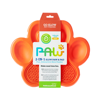 PAW 2-in-1 Slow Feeder & Anti-Anxiety Food Lick Pad & Bowl Combo Orange - Maggies Dog Wellness