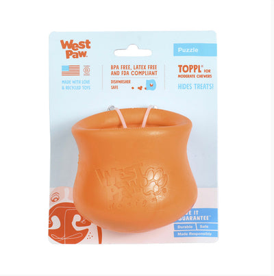 West Paw Toppl treat dispensing toy Orange Small - Maggies Dog Wellness