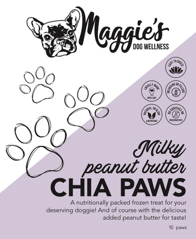 Milky Peanut Butter Chia Paws (available for local delivery & pick up only) - Maggies Dog Wellness
