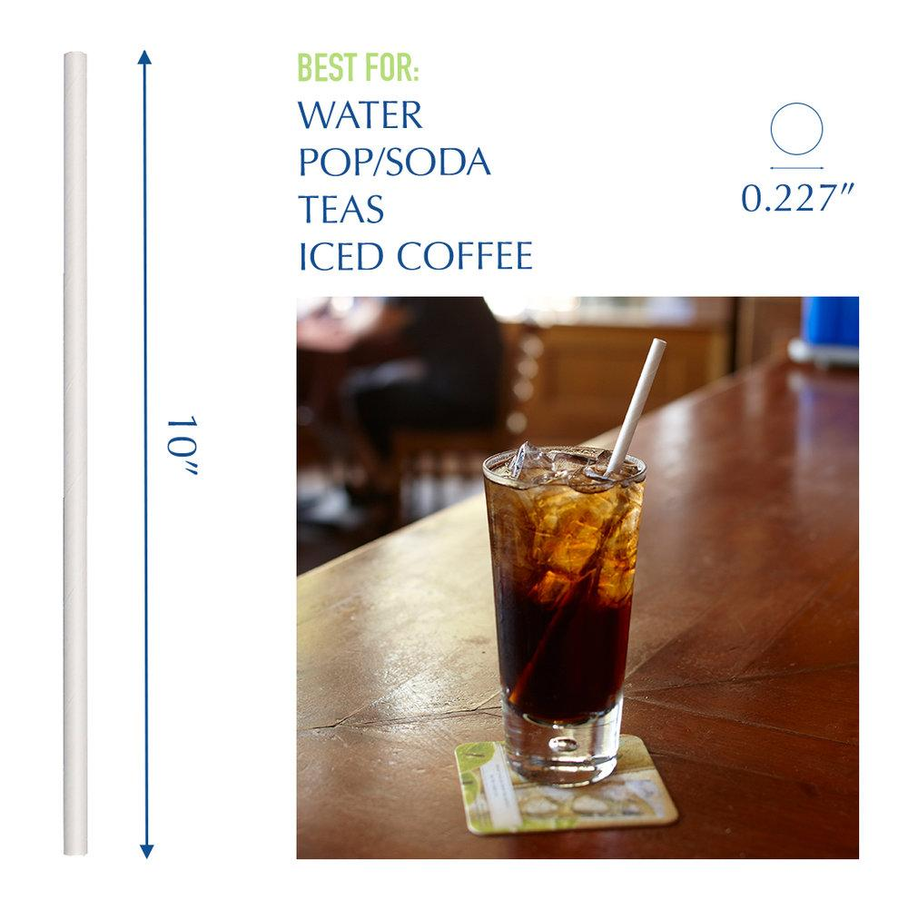 "10"" White Jumbo Paper Straws - 4800 ct."