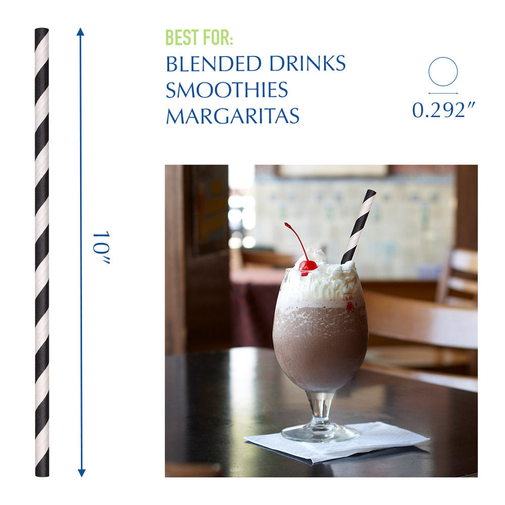 "10"" Wrapped Black Striped Giant Paper Straws - 2400 ct."