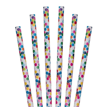 "7.75"" Party Dots Jumbo Paper Straws - 4800 ct."