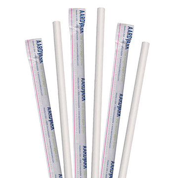 "8.5"" Wrapped White Jumbo Paper Straws - 3200 ct."