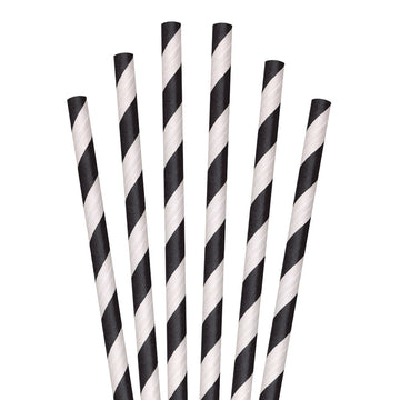 "5.75"" Black Striped Cocktail Paper Straws - 7000 ct."
