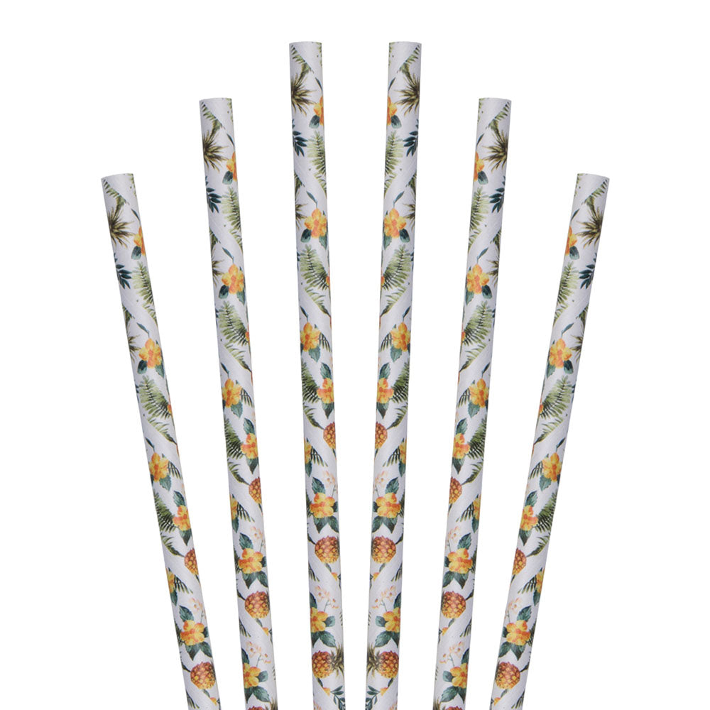 "7.75"" Hawaiian Tropical Pineapple Jumbo Paper Straws - 4800 ct."