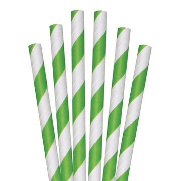"8.5"" Green Striped Colossal Paper Straws - 1480 ct."