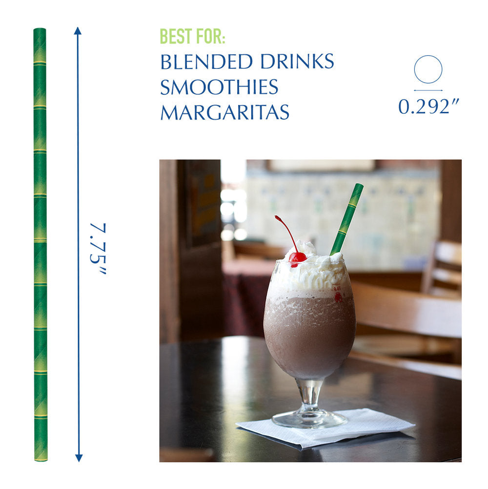 "7.75"" Bamboo Giant Paper Straws - 2800 ct."