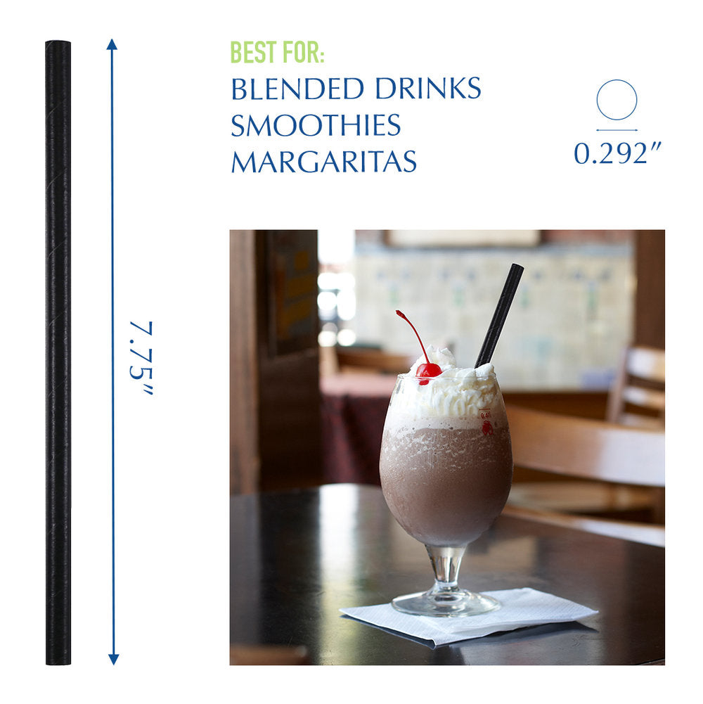 "7.75"" Wrapped Black Giant Paper Straws - 2400 ct."