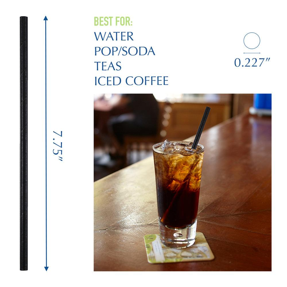"7.75"" Wrapped Black Jumbo Paper Straws - 1200 ct."