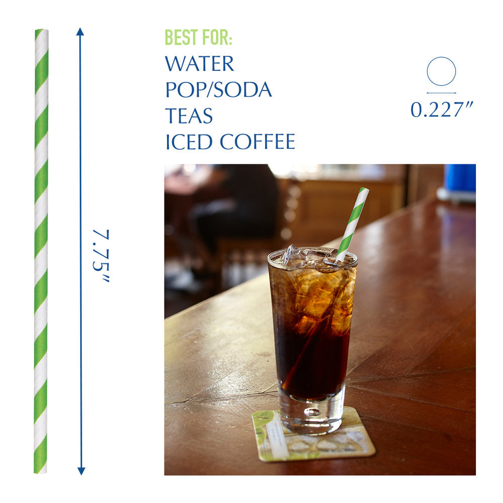 "7.75"" Green Striped Jumbo Paper Straws - 4800 ct."